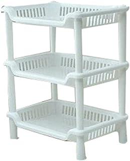 Sronjn Etagères Support Rangement Stockage 3 Tablettes Plastique Salle De  Bain Cuisines Blanc(34*