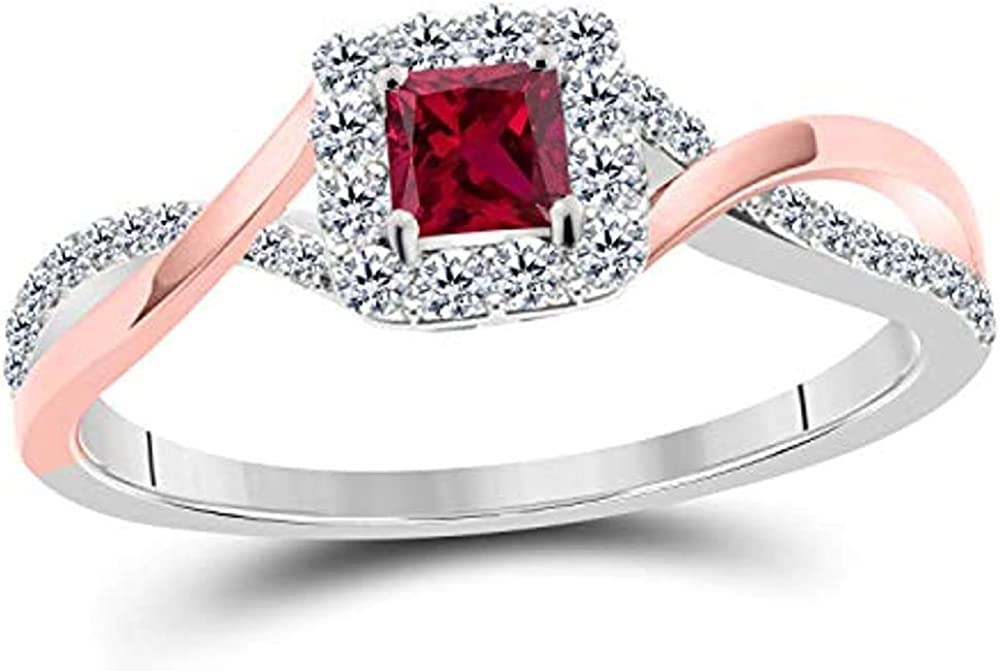 Genuine Ritika Created Princess Cut Ruby lowest price Sterling White in Diamond 925
