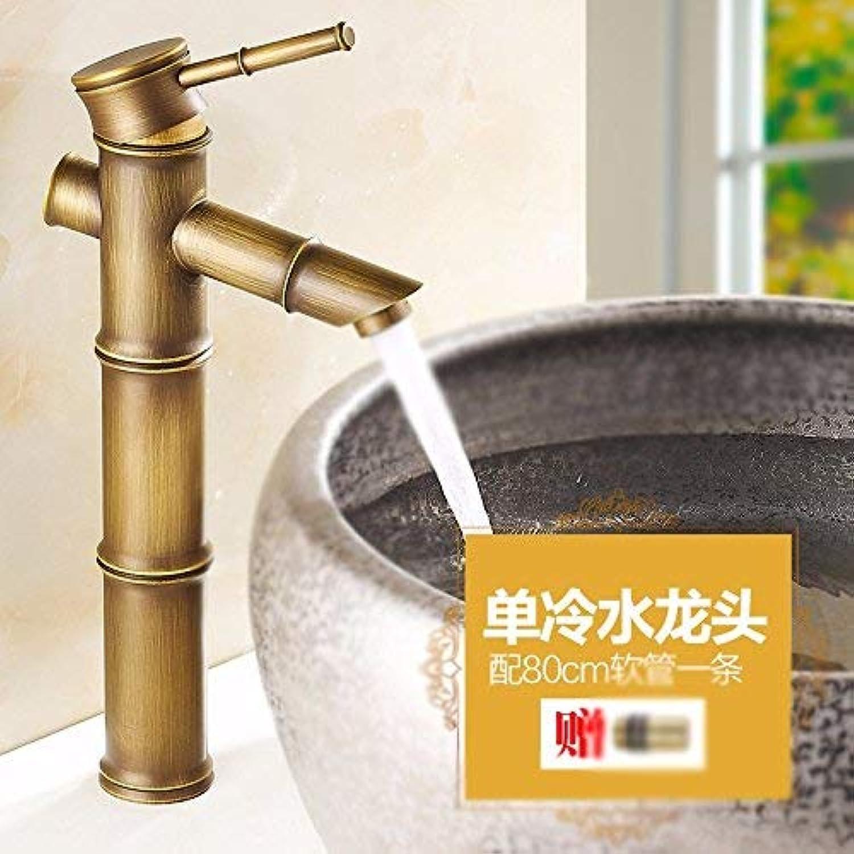 CFHJN Home Voll Von Kupfer Europischen Stil Retro Bambus Einlochmontage Waschbecken Kunst Becken Heien Und Kalten Einhand Waschbecken Wasserhahn