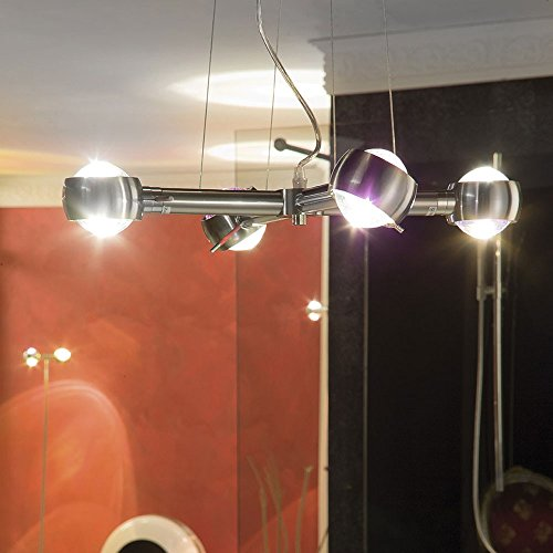 s.LUCE Beam Effekt Hängeleuchte 4-flammig Alu-Gebürstet Hängelampe Effektleuchte Glaslinse Linseneffekt Deckenlampe Design modern Esstisch
