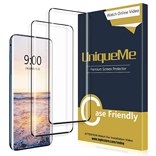 [2 Pack] UniqueMe Screen Protector for Oneplus 7 Pro [3D Full Coverage] [Anti-Bubble] Tempered Glass [Case Friendly] – Black