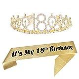 18th Gold Birthday Tiara and Sash Happy 18th Birthday Party Supplies 18th Gold Birthday Glitter Satin Sash and Crystal Tiara Princess Birthday Crown for Girls 18th Birthday Party Decorations