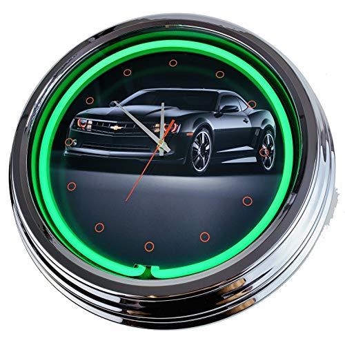 Neon Uhr Black Camaro Wanduhr Deko-Uhr Leuchtuhr USA 50's Style Retro Neonuhr Esszimmer Küche Wohnzimmer Büro (Grün)