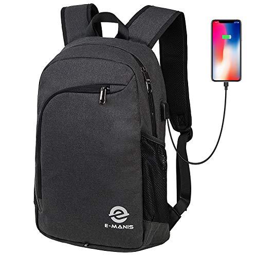 E-MANIS Mochila para portátiles Mochila para Ordenador 15.6 Pulgadas USB Mochila de Portátil Bolso Mochilas Escolares Juveniles Negro
