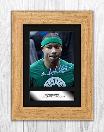 Good With Wood Yorkshire Póster de Isaiah Thomas (1) NBA Denver Nuggets (marco de roble)