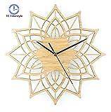 ASHANINA Wall Clocks - Natural Wood Lotus Modern Wooden Wall Clock Fashion Creative Bamboo Wall Hanging Watch Quartz Mute Clocks - by 1 PCS