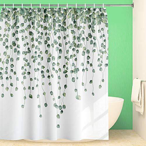 Maccyafst Eukalyptus Duschvorhang Grüne Blätter Duschvorhang Wasserfarben Blatt Duschvorhang Stoff Blumen Duschvorhang Wasserdicht Pflanzen Badezimmer Gardinen mit Haken