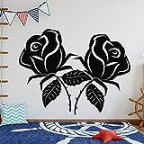 yaonuli Deux Fleurs Roses Silhouette Murale Design Stickers muraux Plantes et Arbres Salon et Chambre décoration 91x70cm