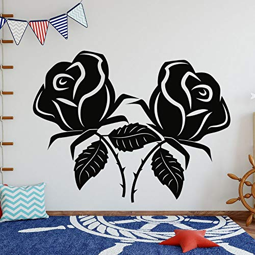 wZUN Two Roses Silhouette Mural Design Wall Stickers Plants and Trees Living Room and Bedroom Decoration Movable 57X44cm