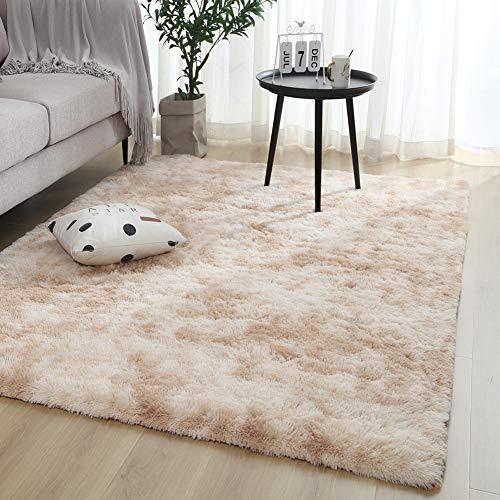 Zwgmu Shaggy Teppich - Hochflor Langflor Teppiche für Wohnzimmer, Esszimmer, Kinderzimmer, Schlafzimmer - versch. Farben u. Größe, Grösse: 120 x 160 cm, Farbe: Beige