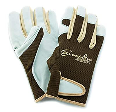 Leather Gardening Gloves for Women and Men. Adjustable Velcro Fastener and Breathable Spandex Back. Ideal for General Garden Tasks