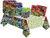 Lote de Cubiertos Infantiles Desechables'Tortugas Ninja ' (8 Vasos,8 Platos(23cm),20 Servilletas y 1 Mantel) .Vajillas y Complementos. Juguetes y Regalos de Cumpleaños, Bodas, Bautizos y Comuniones.