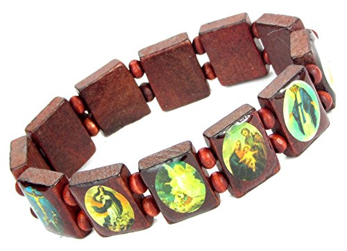 Lovely Lauri Holz Armband Heiligen Bilder Ikonen Damen Herren Gummizug Rotbraun