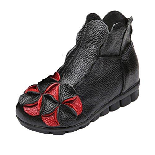Vogstyle Damen Neu Beiläufig Blumen Lederstiefel Handgefertigt Kurze Boots Schwarz Art 1 EU 38.5-39=Asian 40