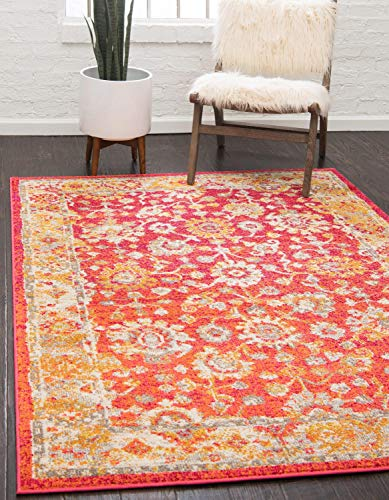 Unique Loom Penrose Collection Vintage Traditional Distressed Rust Red Area Rug (5' 3 x 7' 7)