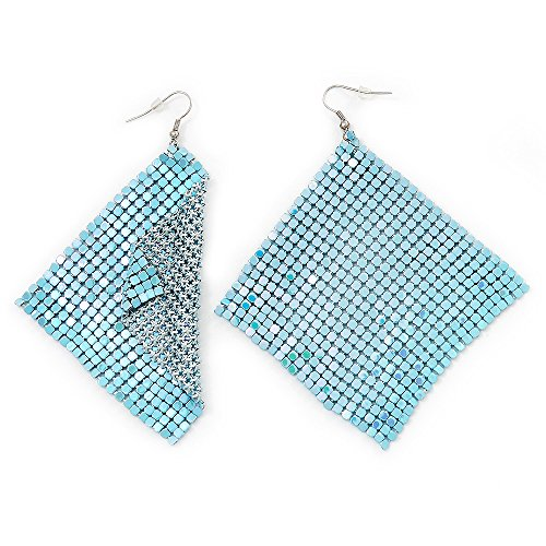 Disco Mesh Cyan Drop Earrings (Silver Plated Metal) -10cm Length