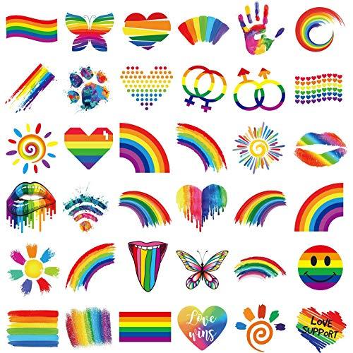 Ooopsiun 40 Sheets Rainbow Temporary Tattoos - Pride Tattoos Butterfly/Flower/Heart/Rainbow Tattoos for Pride Festivals (Rainbow 1)