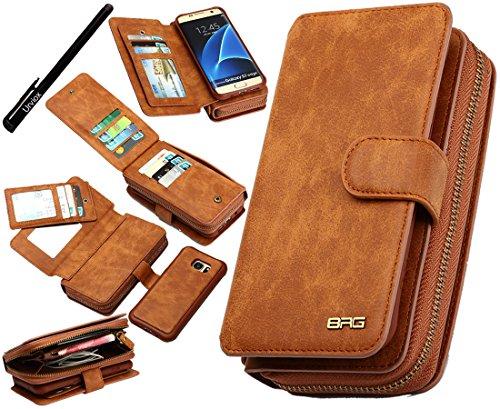 Estuche Urvoix Galaxy S7 Edge, Cartera de cuero con cremallera Premium Bolso Multifuncional Estuche Extraíble con Funda con Tapa Abatible para Samsung Galaxy S7edge G935, Marrón