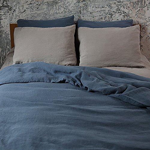 LinenMe 140 x 200 cm 100 Percent Linen Stone Washed Bed Duvet,...
