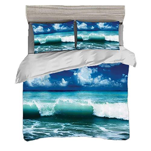 Funda nórdica Tamaño King (200 x 200 cm) con 2 fundas de almohada Ocean Surf Waves por Juegos de cama de microfibra Foto de salpicaduras de agua y mares del Caribe para surfistas,rosa,Easy Care Antial