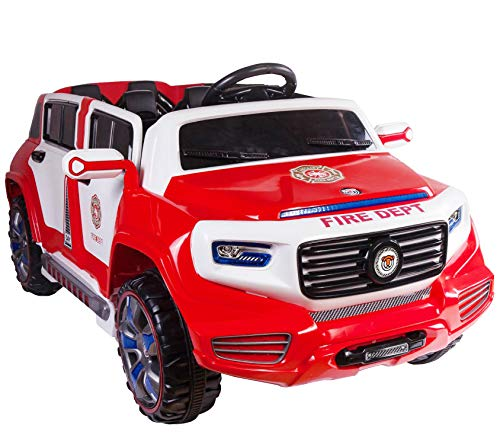 4-Door Ride On Two Seater Fire Truck Electric Toy Car for Kids 12V Battery Powered LED Lights MP3 RC Parental Remote Controller Suitable for Boys Girls