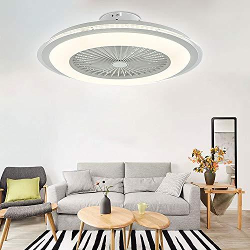 OUKANING Deckenventilator mit Beleuchtung und Fernbedienung Rund Lampe Invisible Fan LED Deckenleuchte Dimmbar leise Kann Timing Fan Lampe Deckenlampe Wohnzimmer Esszimmer Dekor Fanlampe (Weiß)