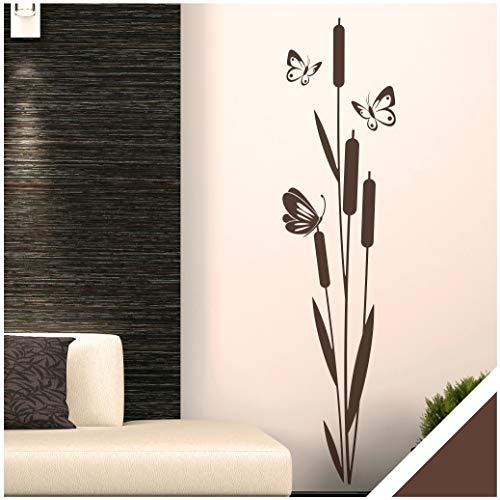 Exklusivpro Wandtattoo Schilf Pflanze mit Schmetterlinge für Wohnzimmer Schlafzimmer Flur oder...