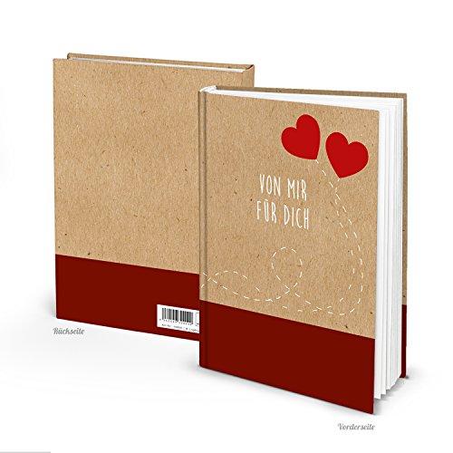 Kleines Notizbuch VON MIR FÜR DICH leeres Buch ZWEI ROTE HERZEN DIN A5 Blankobuch Liebesbuch Tagebuch eigenes Selbermachen Selberschreiben – ein Buch ohne alles zum Einschreiben Geschenk Liebe