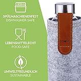 Cosumy Trinkflasche aus Glas mit Filzhülle für Unterwegs – 750ml Glasflasche – Auslaufsicher – Robustes Borosilikatglas - 7