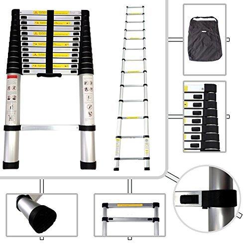 Keraiz® 3.8m Telescopic Extendendable Extension Ladder EN131 MAX Load 150KG (3.8M)