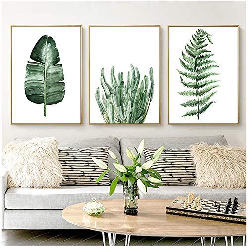 NIESHUIJING Hojas de Plantas Tropicales de AcuarelaLámina de Hoja Verde de Plantas Rurales Cuadros de Pared para decoración del hogar-50x70cm Sin Marco