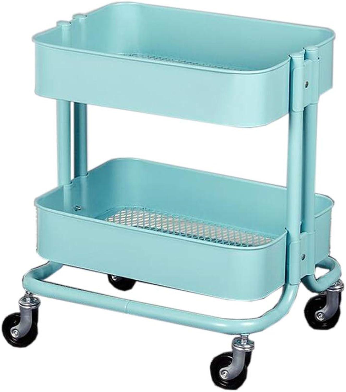JCAFA Shelves Stroller Rack Kitchen Bathroom Multi-Layer Mobile Storage Shelf Multi-Functional Storage Rack Beauty Salon Trolley (color   bluee, Size   17.71  13.77  20.47in)