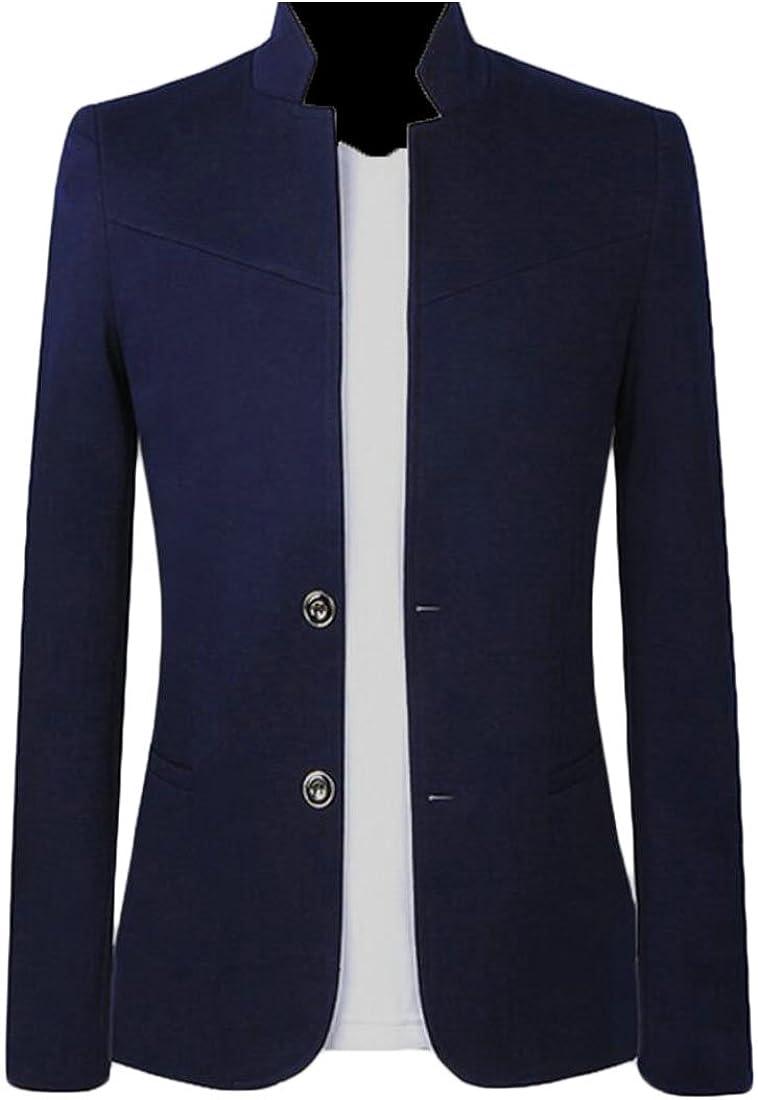 Fensajomon Men's Chinese Tunic Suit Big and Tall 2 Button Chinese Style Mandarin Collar Blazer Jacket Coat
