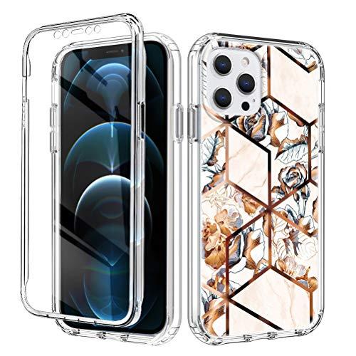 ZhuoFan Funda para iPhone 7 Plus / 8 Plus Dibujos 360 Grados Antigolpes TPU Silicona Bumper + Transparent PC, con Protector de Pantalla Ultrafina Carcasa para iPhone 7Plus / 8 Plus 5,5' - Oro Mármol