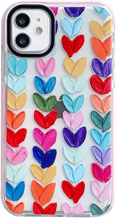 Pink Edge Loving Hearts Clear Phone Case for iPhone 11 Colorful Love Protective Shell Soft Built-in Bumper Cover for iPhone 11