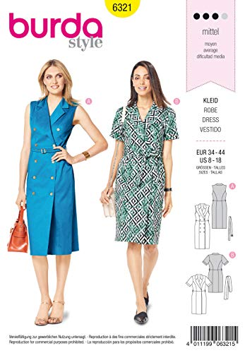 Burda Schnittmuster 6321, Kleid[Damen, Gr. 34-44] zum selber nähen, ideal für Fortgeschrittene [L3]