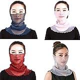 4 Stück Sonnenschutz Gesichtsschal,Atmungsaktiver Seidenhals,Frauen Atmungsaktiv Sonnenschutzmaske Halstuch Nickituch für Turban Outdoor Aktivitäten Gesicht und Hals (A)