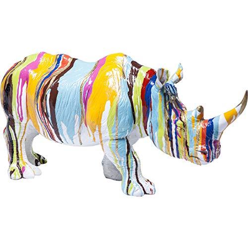 Kare Design Deko Figur Rhino Colore 26 cm, buntes Nashorn als schönes Accessoire für das Wohnzimmer, Dekoobjekt, Dekofigur Nashorn Mehrfarbig, (H/B/T) 26x55x17cm