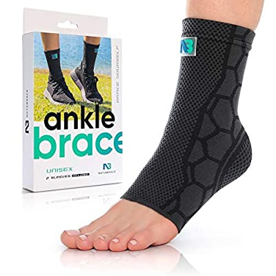 Ankle Brace Compression Support Sleeve (Pair) for Injury Recovery & Protection, Joint Pain. Plantar Fasciitis Support Foot Socks with Arch Support, Eases Ankle Swelling, Heel Spurs, Achilles Tendon