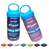 Cooling Towel – Instant Cooling for Running Workout Sweat Gym Sports Beach Yoga Golf Tennis Camping, Bandana Scarf Headband Wristband, Chill Super Soft and Breathable with Jars Container (2 Pack)