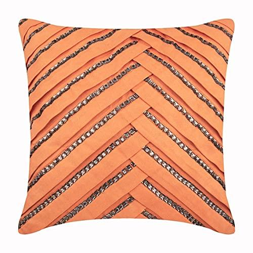Pomarańczowa poszewka na poduszki, kryształy strasu teksturowane pintucks 40 x 40 cm (16 x 16 cali) poszewki na poduszki ozdobne, poszewki na poduszki ze sztucznego zamszu, współczesne poduszki w paski - wędzony łosoś