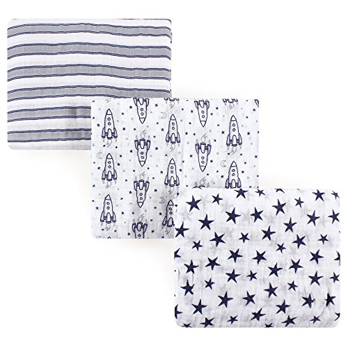 Hudson Baby Unisex Baby Cotton Muslin Swaddle Blankets, Rocket Ship 3-Pack, One Size