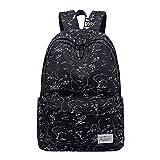 Van Caro Unisex Polyester Waterproof Backpack Rucksack Travel Shopping Bag Daypack, Black