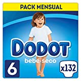 DODOT Bebé-Seco - Pañales Talla 6, 132 Pañales, Pañal con Canales de Aire - 13+ kg