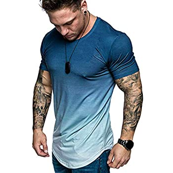 FUNEY Fashion T-Shirt for Men Muscle Gym Workout Athletic Shirt Pleated Raglan Sleeve Bodybuilding Cotton Tee Shirt Top Navy