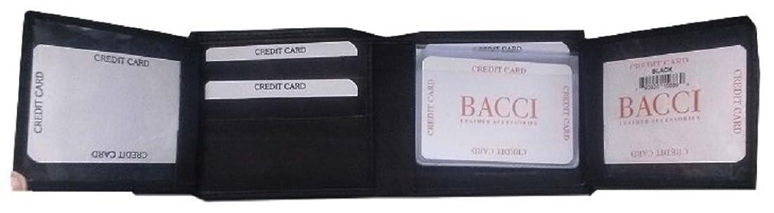気球海里説明メンズ純正ソフト本物レザーブラック二つ折り財布2?IDフラップ16クレジットカードスロット