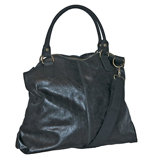 BORDERLINE - 100% Made in Italy - Borsa da Donna in Vera Pelle - LISA (Nero)