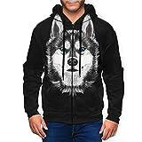 Hhill Swater Siberian Husky Dog on Black Men's Cool Full-Zip Hooded Jacket Long Sleeve Sweatshirt
