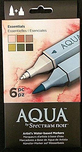 Aqua by Spectrum Noir - Essentials - Set of 6 Artist's Water-Based Markers