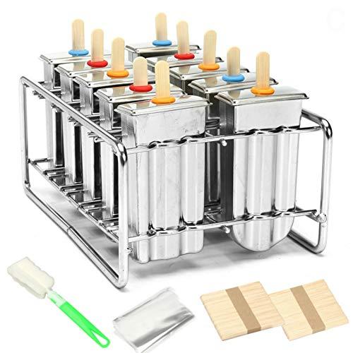 Bulary Edelstahl 10Stück DIY Eis Popsicle Form Eis Form und selbstgemachte ideal für Innen- und Außenbereich